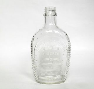 Vintage Clear Large Glass Syrup Bottle Liberty 1776 - 1976 Log Cabin Syrup photo