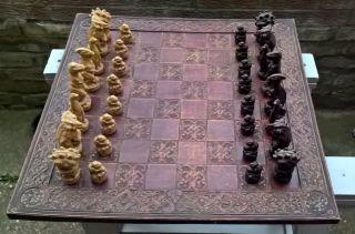 Antique Vintage Anne Carlton Art Jurassic Dinosaurs Sculptures Chess Board Game photo