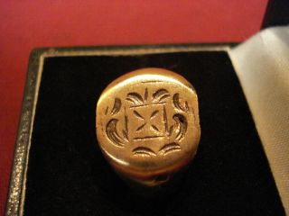 Byzantine / Medieval Ring With ' Crest ' - - Detector Find photo