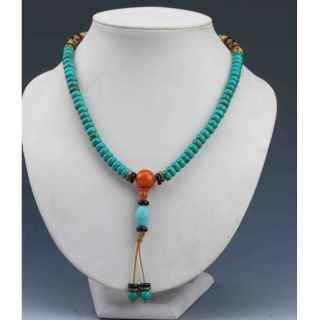 Chinaese Collectibles Handwork Turquoise & Beeswax Toyed Prayer Bead Necklace photo