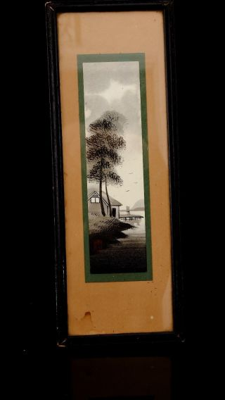 Small Framed Japanese Landscape Painting (jw3) photo