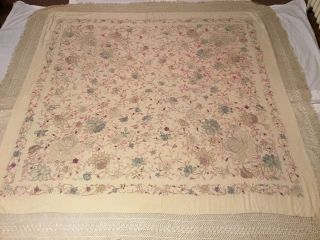 Antique Chinese Canton Embroidered Silk Shawl Embroidery,  60
