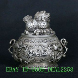 Tibet Silver Copper Hand - Carved Kirin Treasure Bowl Pot W Xuande Mark Gd1881 photo