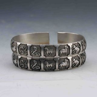 Collectable Tibet Silver Hand Carved Zodiac Sign Bracelet G711 photo