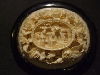 Stunning Antique Victorian Chinese Hand Carved Scene In Hard Wood Brooch photo