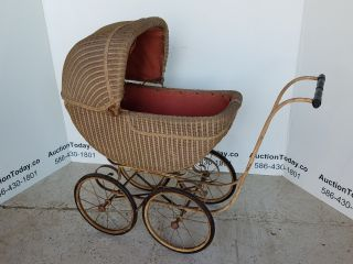 Antique Baby Wicker Stroller - All photo