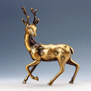 Chinese Collectable Brass Hand Carved Deer Statues photo