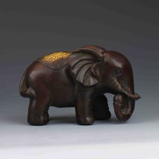 Chinese Bronze Gilt Hand - Carved Elephant Statues G471 photo