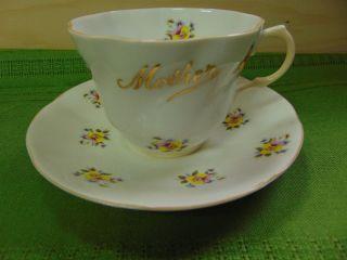 Royal Dover England Mother Teacup Saucer Floral Snapdragons photo