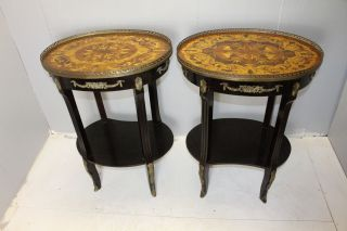 French Provincial Marquetry Inlaid Mahogany Side Table Brass Gallery photo