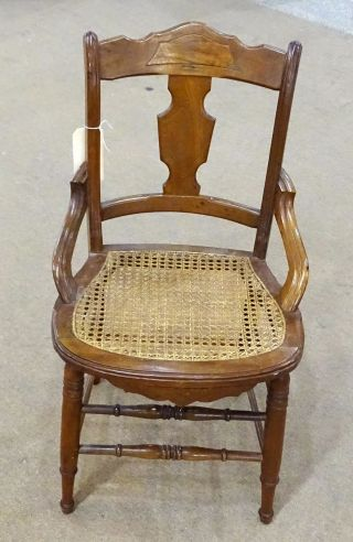 Victorian Walnut Chair Hip Rest Cane Seat photo