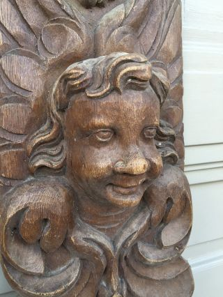 Antique Architectural Carving Putti / Cherub/ Angel Pediment Wall Piece In Wood photo