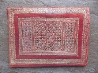 Antique Fine Tooled Moroccan Leather Portfolio Document Holder 22carat Gold Leaf photo