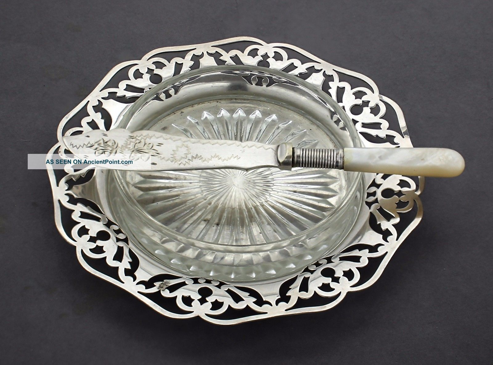 Antique Silver Plate Butter Dish Pierced Round Glass Insert Mother Of Pearl Dishes & Coasters photo