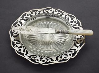 Antique Silver Plate Butter Dish Pierced Round Glass Insert Mother Of Pearl photo