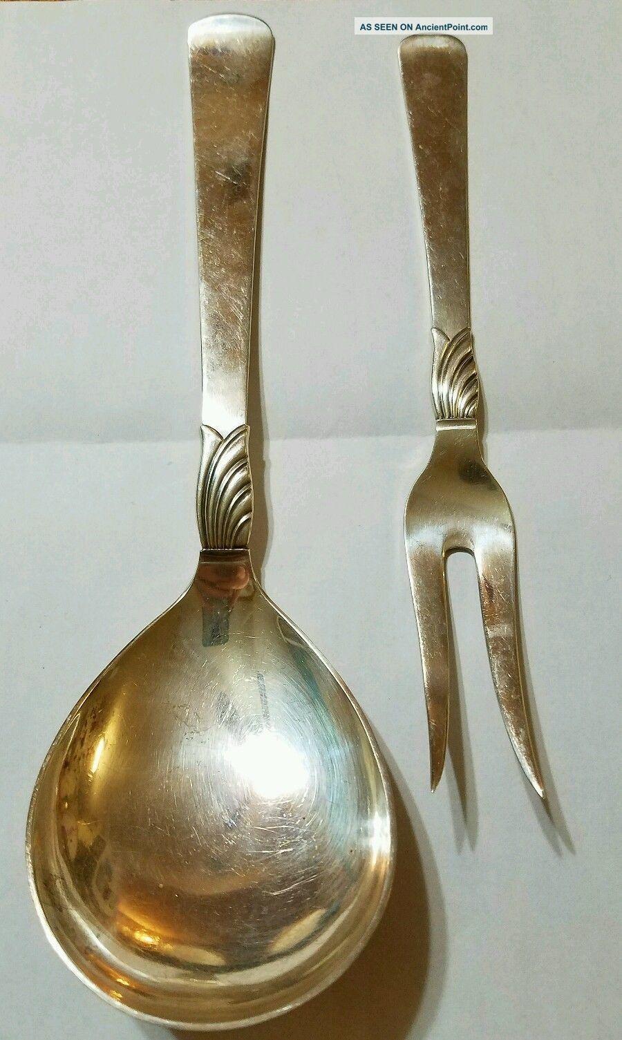Jens Andersen Denmark Sterling Silver Cold Meat Fork & Serving Spoon 166.  8g Scandinavia photo