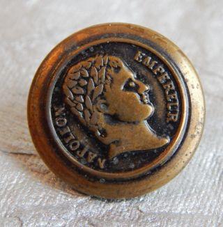 Antique Metal Picture Button Napoleon Emperiur 767a photo