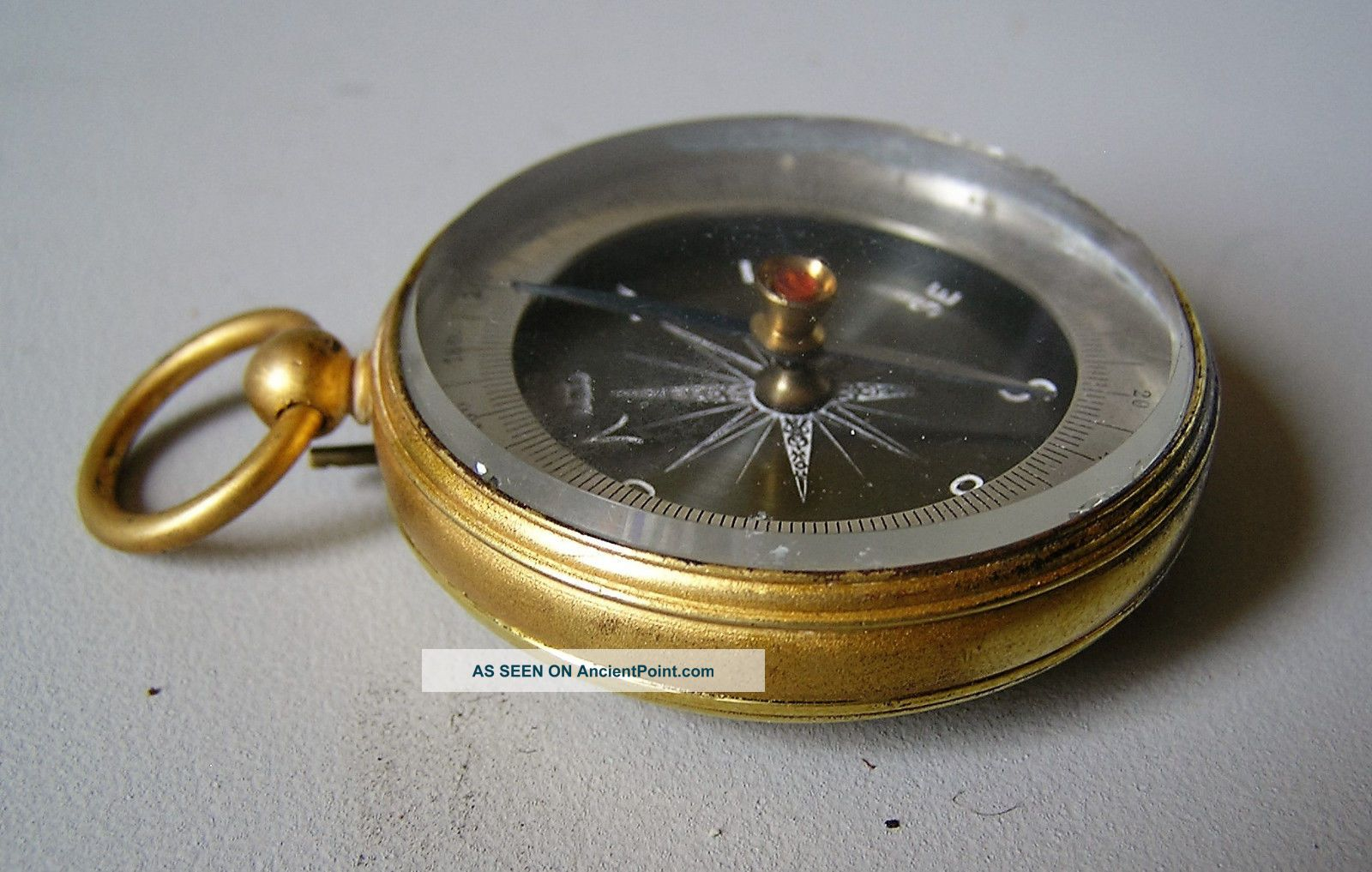 Fine Antique French Compass In Gilded Case 1900 Compasses photo
