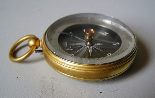 Fine Antique French Compass In Gilded Case 1900 photo