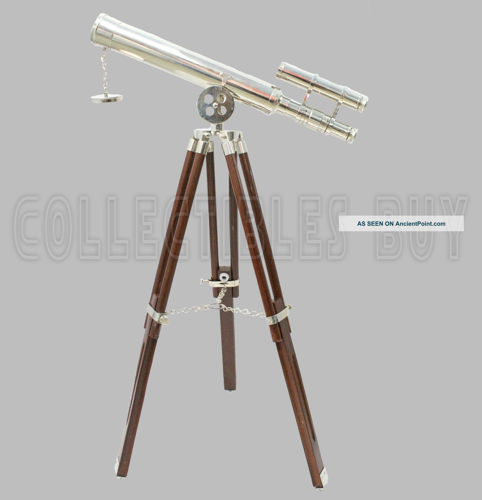 Brass Telescope Marine Wooden Tripod Spyglass Home Decor Instrument Telescopes photo