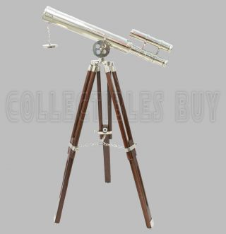 Brass Telescope Marine Wooden Tripod Spyglass Home Decor Instrument photo