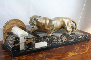 Xxl Art Deco 1930 Guy Debe Signed Panther Bronze Marble Sculpture Statue 1930 photo