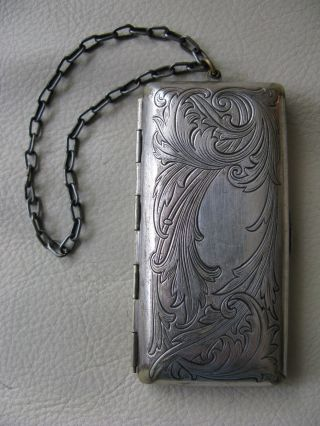 Antique Art Nouveau German Silver Copper Floral Coin Holder Chatellane Fob Purse photo