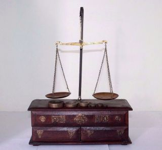 1900s Antique Goldsmith Jewelry Weight Balance Brass Scale With Wooden Box 505 photo