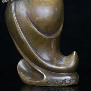 Chinese Antique Brass Hand Carved Buddha Statue W Xuande Mark Gd2682 photo