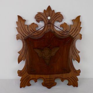 Antique Wood Victorian Wall Mount Hanging Holder Cherub Angle Religious Gothic photo