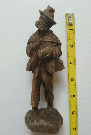 Hand Carved Wood Carving Antique German Folk Art Solid Wood 6.  25 Inches Tall Hs photo