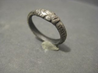 Ancient Roman Silver Billon Ouroboros Ring Wearable photo