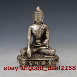 Vintage Tibet Silver Copper Tibetan Buddhism Shakya Mani Statue Gd2542 photo
