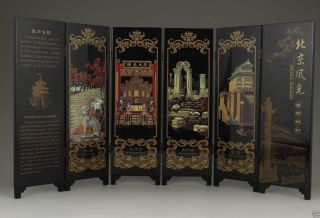 Chinese Old Lacquer Handwork Painting Beijing Scenery Screen Decoration R1 photo