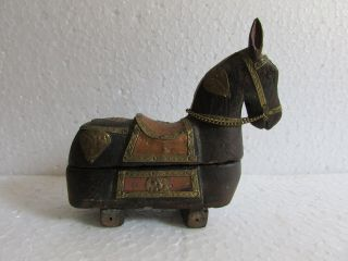 Vintage Old Hand Carved Brass /copper Fitted Horse Shape Kumkum Powder Tika Box photo