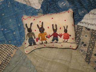 Primitive Tiny Sampler Pillow The Rabbit Family Valentines Folk Art Needlework photo