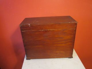1900 ' S Miniture 3 Drawer Hand Crafted Wooden Chest W Knobs Varnished Surface Nr photo