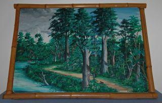 Folk Art Outsider Highwaymen Oil Painting On Canvas By J.  Moreno Bamboo Framed photo