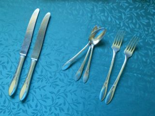 Vintage Community Silverplate Dinner Knives Forks Teaspoons Lady Hamilton 1932 photo
