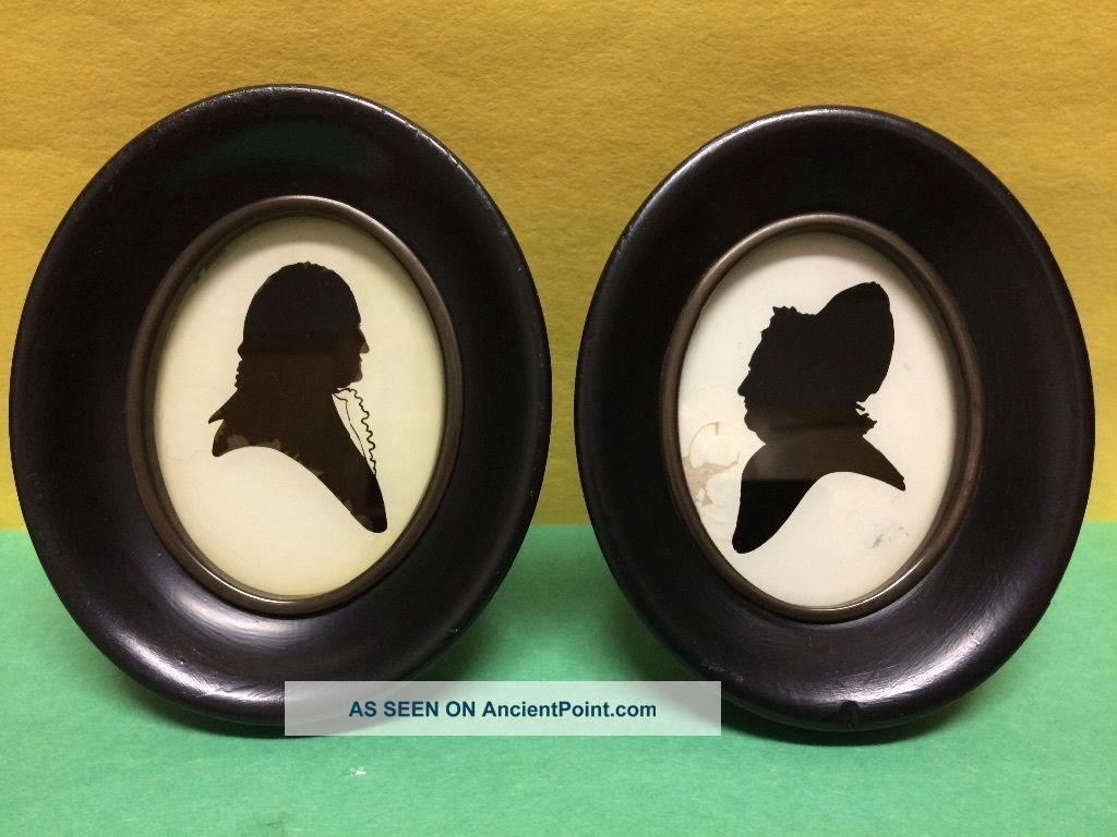 Circa 1930s.  Framed By C&a Richards Reverse Painting On Glass Silhouette. Folk Art photo