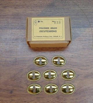 8 Nos Christensen No.  113 Polished Brass Escutcheons,  1 - 3/8