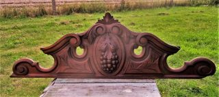 Vintage Gorgeous Hand Carved Wooden Pediment Overdoor Grapes photo