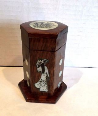 Chinese Antique Wooden Box Inlaid Mother Of Pearl Figures Hexagonal Unusual photo