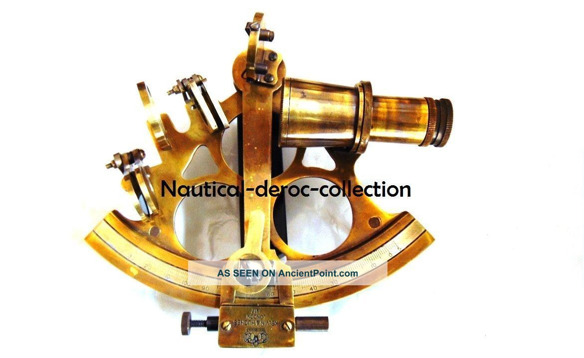 Antique Nautical Brass Maritime Collectible Ship Sextant - Marine Navigation Sextants photo