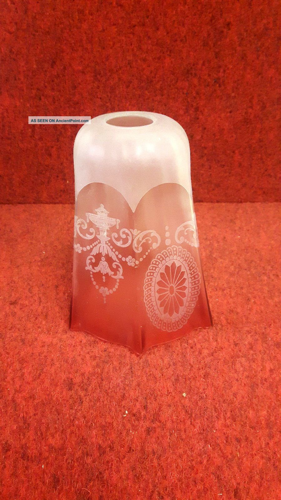 Fluted Cranberry Etched Glass Light Shade Edwardian (1901-1910) photo