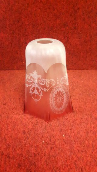Fluted Cranberry Etched Glass Light Shade photo