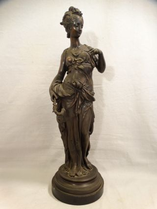 19thc Antique Art Nouveau Era Bronzed Grecian Lady Greek Statue Mantel Garniture photo
