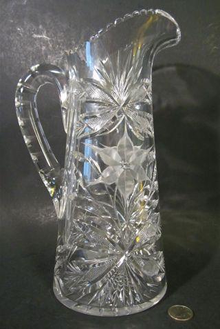 American Brilliant Ideal Canastota Diamond Poinsettia Cut Glass Pitcher photo