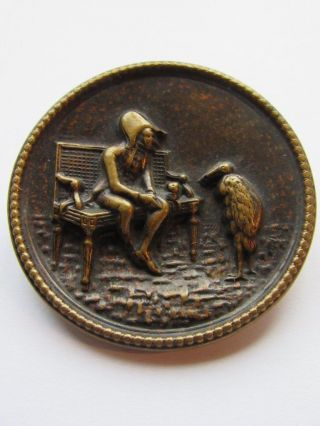 Antique Picture Buttons Metal Brass Farmer & The Stork Eingetragen Germany - 7 photo