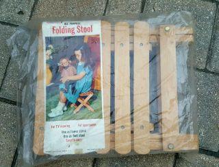 Vintage 1950s Folding Slotted Wood Camp Stool Seat Yugoslavia Nevco photo